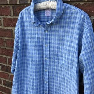 Brooks Brothers Blue Plaid Shirt Yellow Pinstripe